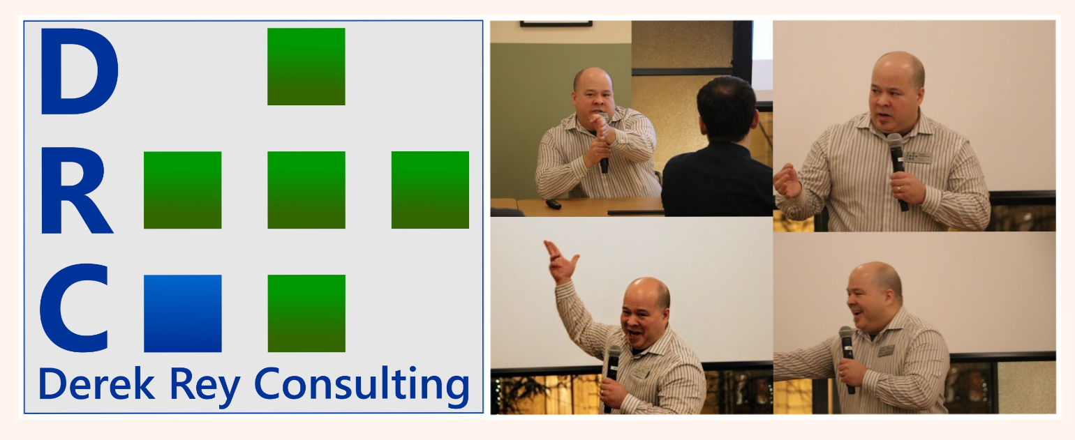 Derek Rey Consulting Logo, employee engagement in portland oregon with 4 images of Derek Pangelinan speaking with microphone